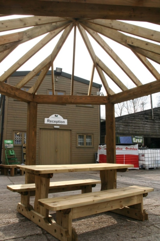 Coltman Bros Hexagonal Gazebo 3.5m wide across eaves beams